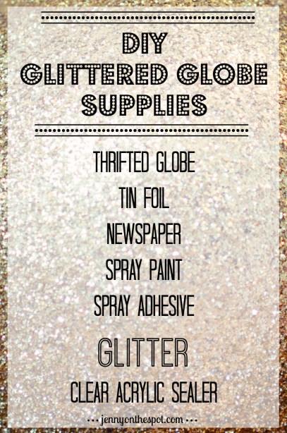 DIY Glittered Globe Supplies List via @jennyonthespot