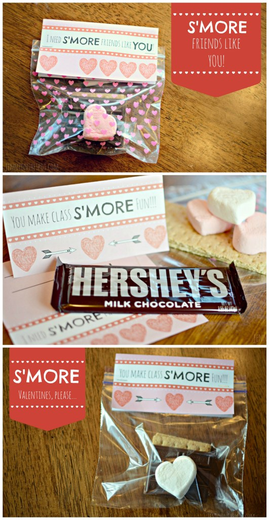 Free Classroom Valentine Printable feat, S'mores! via @jennyonthespot