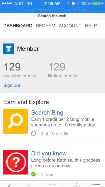 iOS and Bing Rewards