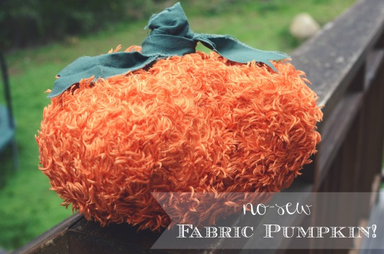 No-Sew pumpkin from thrifted fabric via @jennyonthespot