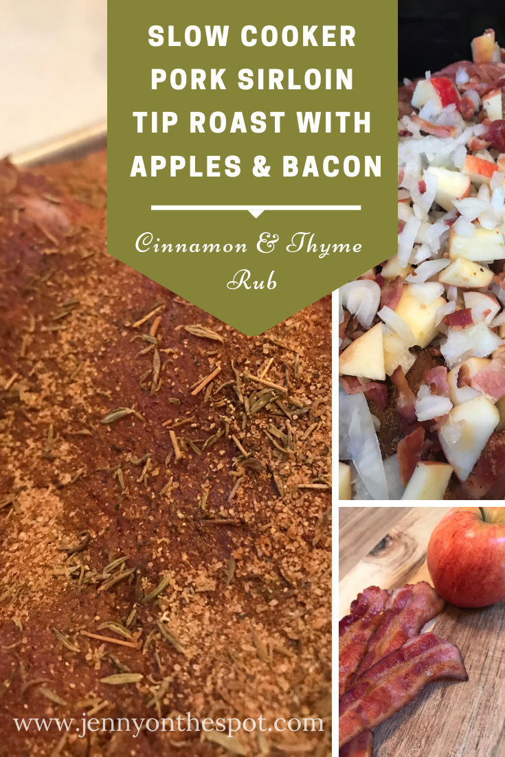 Slow Cooker Pork Sirloin Tip Roast with Apples and Bacon #slowcooker