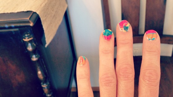 Water Marble Nail Art via @jennyonthespot