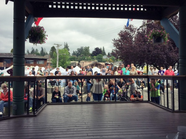 Lutefisk Eating Contest stage and audience