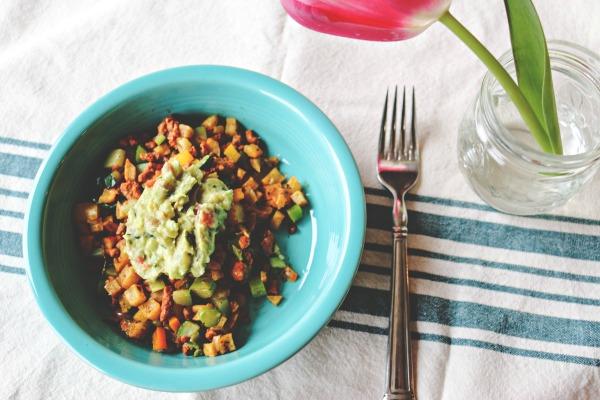 sweet potato and chorizo hash with guacamole