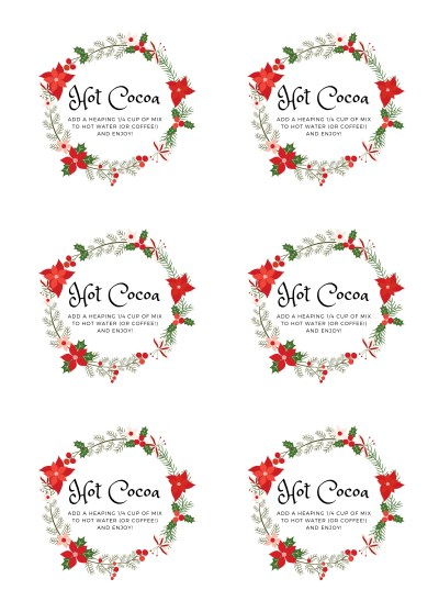 Christmas Wreath Hot Cocoa Labels Wide Mouth Lids