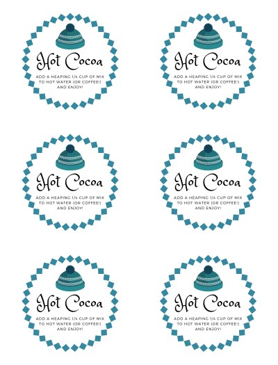 Winter Hot Cocoa Labels Wide Mouth Lids