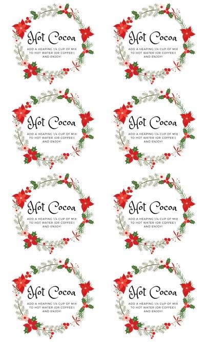 Christmas Wreath Hot Cocoa Labels Regular Lids