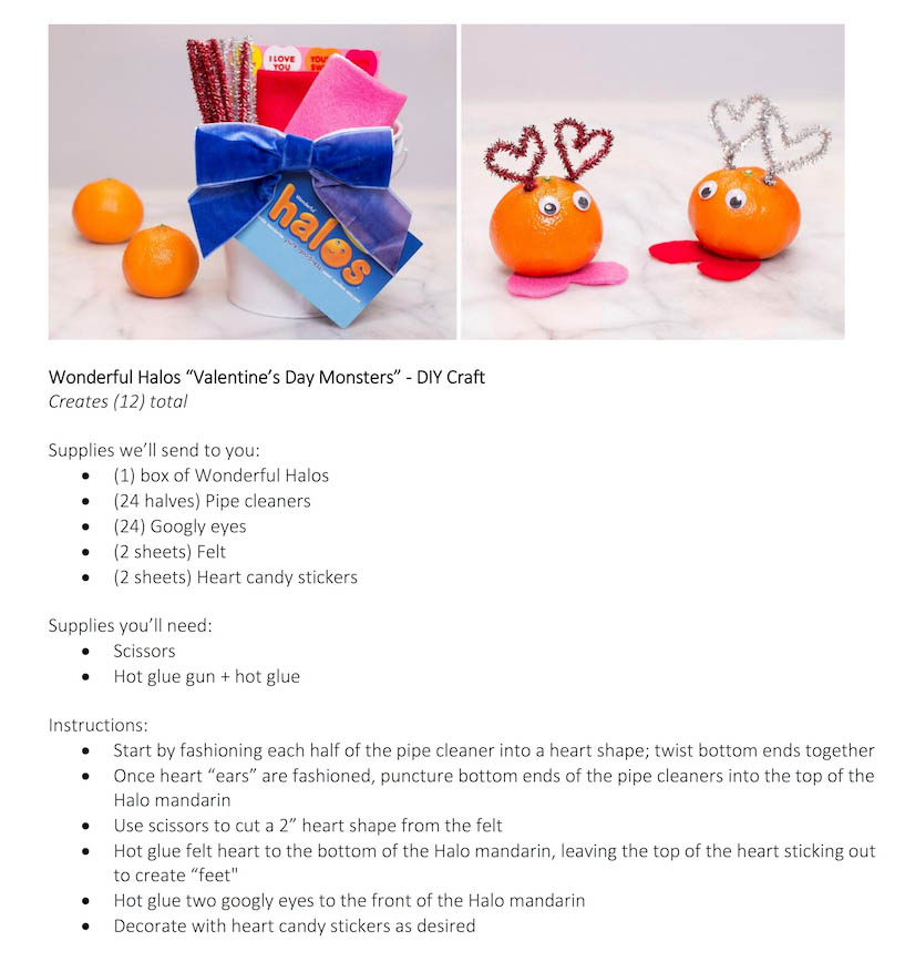 Supplies + Instructions - Halos Valentine's Day Monsters DIY Craft