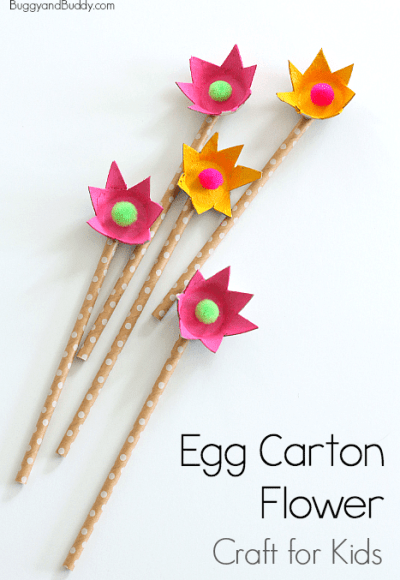 Upcycled egg carton flowers with paper straws by Buggy and Buddy