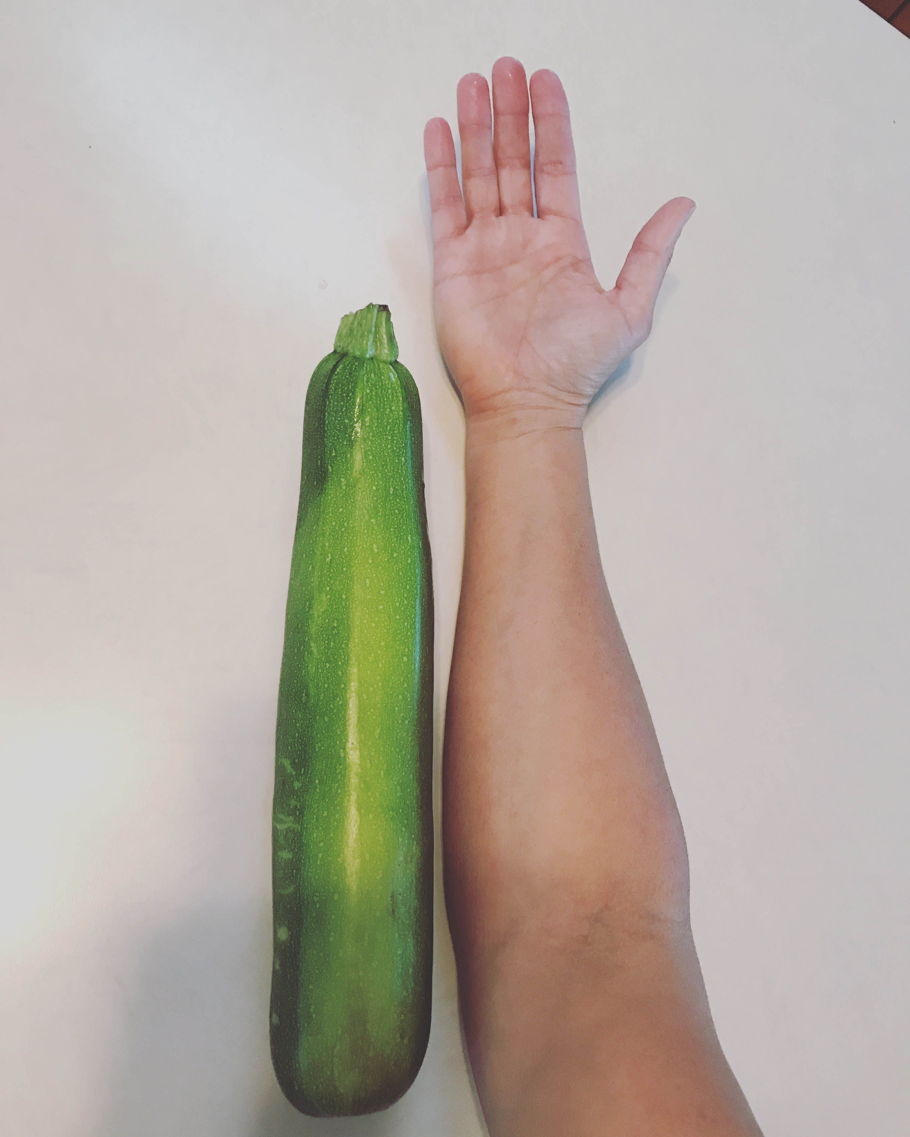 VERY large zucchini. Forearm for scale