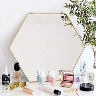 Dorm room decor: hexagon hanging mirror