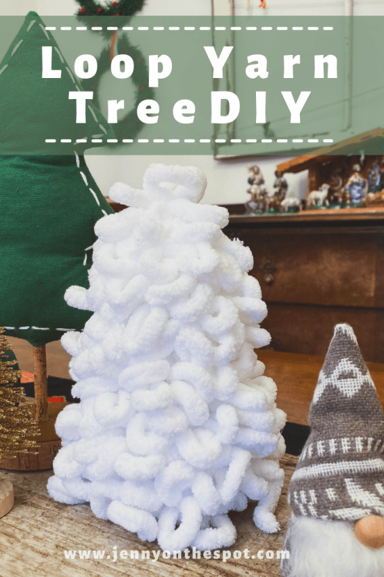 This is a Christmas tree made of loopy yarn!