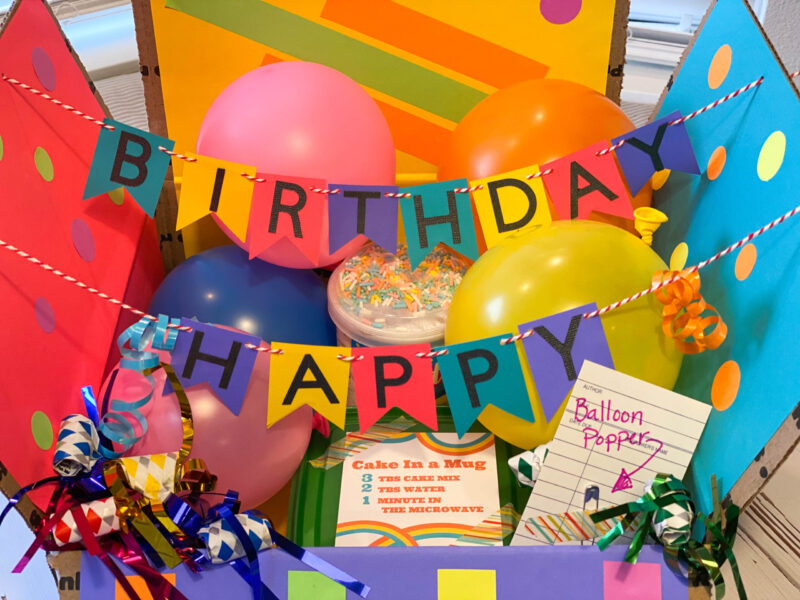 Birthday Box - College Care Package with Balloons