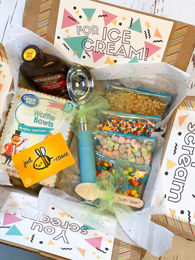 Just Add Ice Cream Box College Care Package Closeup