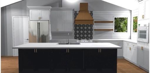 Shiplap, tile and floating shelves