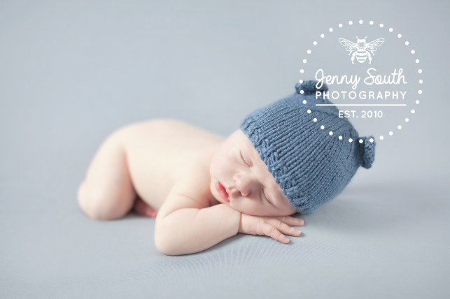 newborn baby boy in teddy hat
