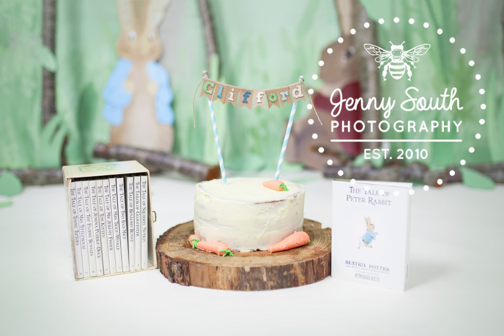 Peter Rabbit themed cake and books