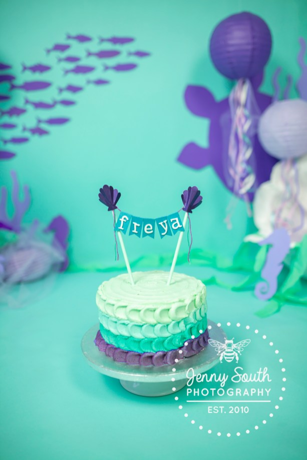 Under water themed cake, in a custom made cake smash session.
