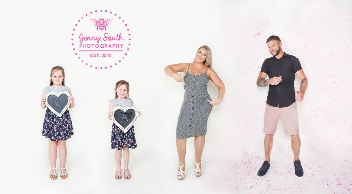 Family photo session revealing the gender of their new sibling by showering Dad in pink confetti