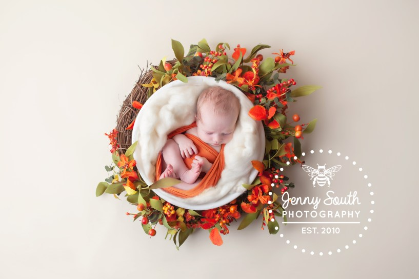 A baby lies sleeping in a nest of autumnal foliage during a newborn session.