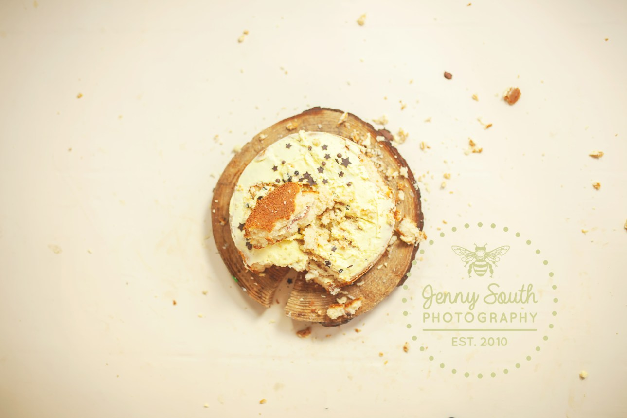A cake lies smashed on a wooden log against a cream backdrop after a little boys cake smash