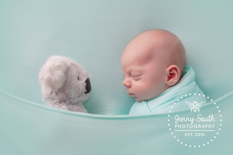 A little boy sleeps nose to nose with his koala teddy bear ion a blue bed.