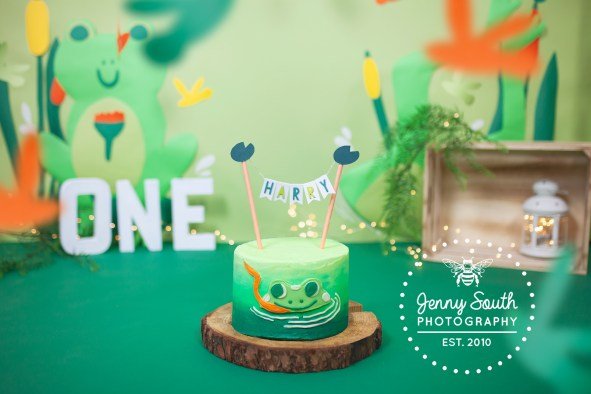 A beautiful frog frog themed birthday cake sits on a log in a swamp themed set for a first birthday cake smash.