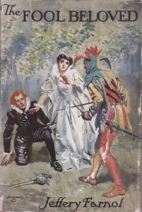 The Fool Beloved by Jeffery Farnol book cover features jesters and fools in fiction