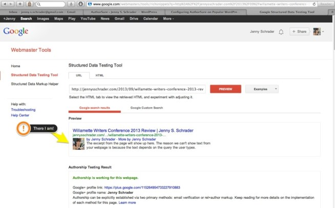 My test over authorship of a post using the WordPress plug-in AuthorSure