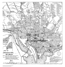 Map of Washington DC from 1892 from the Engineer Corps