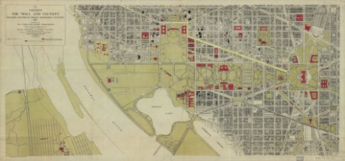 The Mall and Vicinity of Washington DC, dated 1917