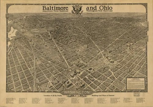 Baltimore and Ohio train map of Washington DC, dated 1936