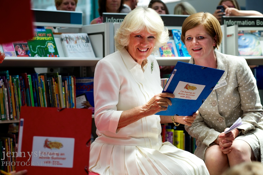 Camilla Duchess of Cornwall photographer at Exeter Library.