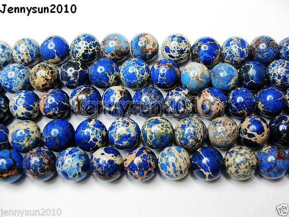 Natural Sea Sediment Jasper Gemstone Round Beads 155