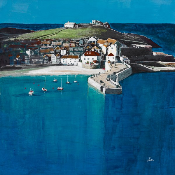 st ives harbour on a sunny day by jenny urquhart