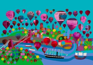 Hot air balloons floating Bristol with SS Great Britain and the Matthew by Jenny Urquhart