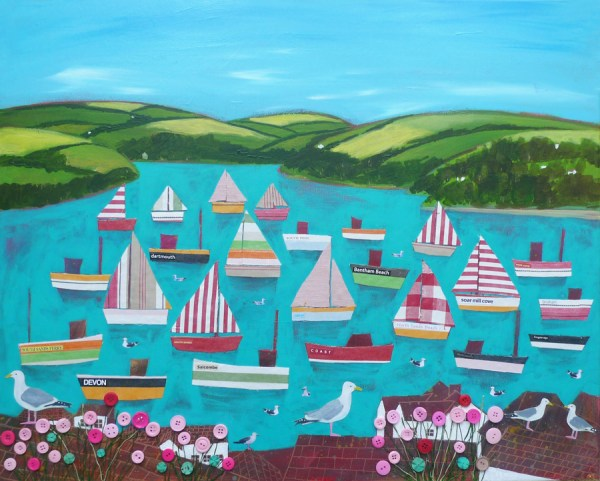 devon sailing boats in kingbridge estuary by jenny urquhart