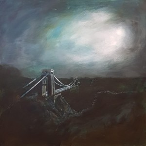 Midnight at the bridge with the moon shining through clouds at night by jenny urquhart