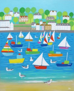 seagulls in salcombe with boats and sunshine by jenny urquhart