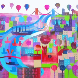 Shipshape and Bristol Fashion with boats in the river and clifton suspension bridge by jenny urquhart
