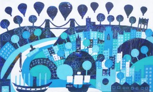 Bristol landmarks in blue with SS Great Britain and Clifton Suspension Bridge by Jenny Urquhart