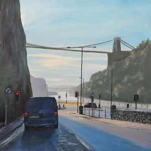 queuing at traffic lights on bridge valley road below the clifton suspension bridge by jenny urquhart