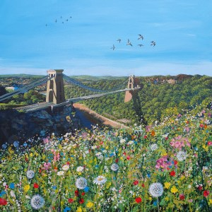Spring flowers dance infront of Clifton Suspension Bridge whilst swallows fly overhead by Jenny Urquhart