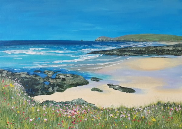 Treyarnon bay in cornwall by Jenny Urquhart