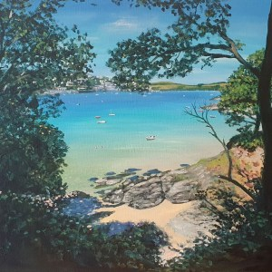 Mill Bay through the trees in Salcombe Devon by Jenny Urquhart