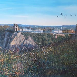 flight home over the clifton suspension birdge by jenny urquhart
