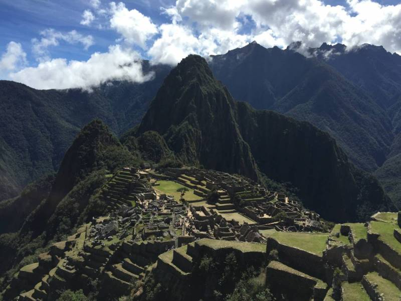 Iconic Machu Picchu outline of face in the mountain