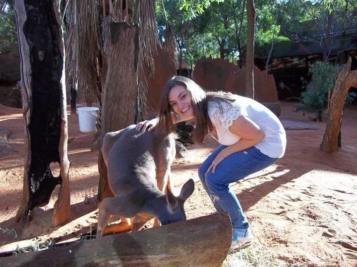 Petting a kangaroo at Wild Life Sydney Zoo