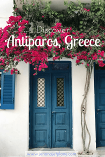Antiparos, Greece is a small Greek island only accessible by ferry. Only 3 hours from Santorini, it is the perfect remote getaway and is a fun spot for hipsters and hippies alike. Save this pin to your travel board for your next visit to Greece.