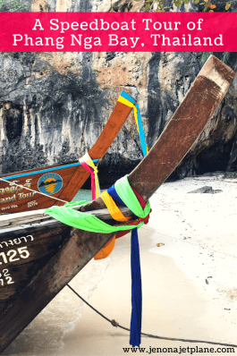 The best way to explore Phang Nga Bay is on a speedboat tour from Phuket, Thailand. This makes the perfect day trip for those looking to kayak, explore sea caves and have a little adventure. Pin to your travel board for inspiration! #thailandactivities #visitthailand #visitasia #travelasia #wanderlust